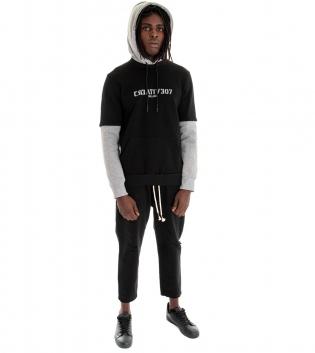 Outfit Uomo Completo Felpa Paul Barrell Jeans Tinta Unita Nero GIOSAL