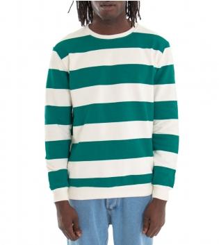 Outfit Uomo Completo Felpa Rigata Verde Acqua Jeans Rotture Denim GIOSAL
