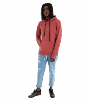 Outfit Uomo Felpa Tinta Unita Rosa Jeans Rotture Elastico Coulisse Denim GIOSAL