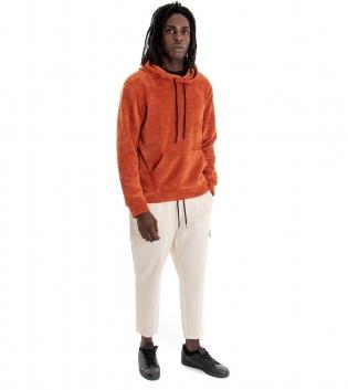 Outfit Uomo Completo Felpa Paul Barrell Velluto Ruggine Pantalone Cargo Bianco GIOSAL