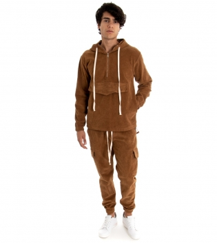 Outfit Uomo Felpa Pantalone Tuta Camoscio Costine Tinta Unita Camel GIOSAL