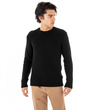 Outfit Uomo Maglioncino Paul Barrell Tinta Unita Pantalone Jeans Camel Casual GIOSAL