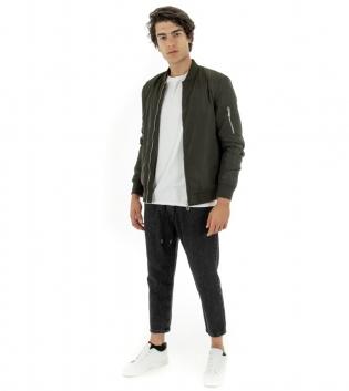Outfit Uomo Giubbotto Tinta Unita Verde Bomber Pantalone Jeans Elastico Coulisse Nero GIOSAL