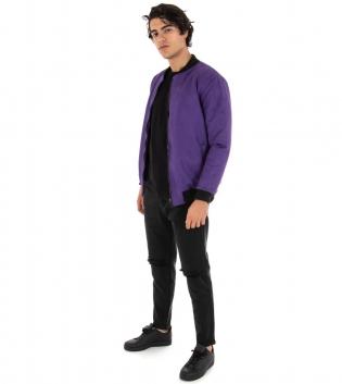Outfit Uomo Giubbotto Scamosciato Viola Pantalone Rotture Nero Casual GIOSAL