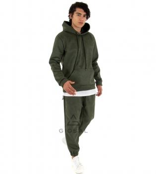 Completo Uomo Tuta Camoscio Tinta Unita Verde Felpa Pantalone Cappuccio Elastico Coulisse GIOSAL