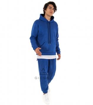 Completo Uomo Tuta Camoscio Tinta Unita Blu Royal Felpa Pantalone Cappuccio Elastico Coulisse GIOSAL