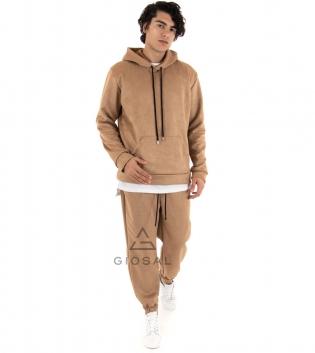 Completo Uomo Tuta Camoscio Tinta Unita Camel Felpa Pantalone Cappuccio Elastico Coulisse GIOSAL