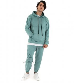 Completo Uomo Tuta Camoscio Tinta Unita Verde Acqua Felpa Pantalone Cappuccio Elastico Coulisse GIOSAL
