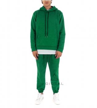 Completo Uomo Tuta Camoscio Tinta Unita Verde Menta Felpa Pantalone Cappuccio Elastico Coulisse GIOSAL-Verde Menta-S