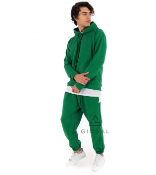 Completo Uomo Tuta Camoscio Tinta Unita Verde Menta Felpa Pantalone Cappuccio Elastico Coulisse GIOSAL