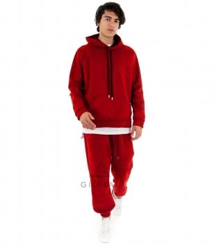 Completo Uomo Tuta Camoscio Tinta Unita Rosso Felpa Pantalone Elastico Cappuccio GIOSAL