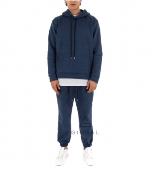 Completo Uomo Tuta Camoscio Tinta Unita Blu Felpa Pantalone Elastico Cappuccio GIOSAL