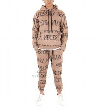 Outfit Uomo Completo Scritta  Tuta Camoscio Stampa Tinta Unita Camel Felpa Pantalone GIOSAL-Camel-S