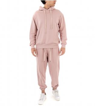 Completo Uomo Tuta Cotone Outfit Casual Tinta Unita Rosa Cappuccio GIOSAL