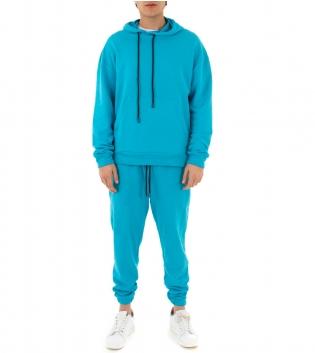Completo Uomo Tuta Cotone Outfit Casual Tinta Unita Vari Colori Cappuccio GIOSAL-Azzurro-S