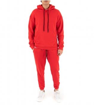 Completo Uomo Tuta Cotone Outfit Casual Tinta Unita Vari Colori Cappuccio GIOSAL-Rosso-S
