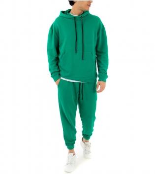 Completo Uomo Tuta Cotone Outfit Casual Tinta Unita Verde Menta Cappuccio GIOSAL