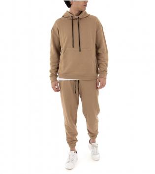 Completo Uomo Tuta Cotone Outfit Casual Tinta Unita Camel Cappuccio GIOSAL