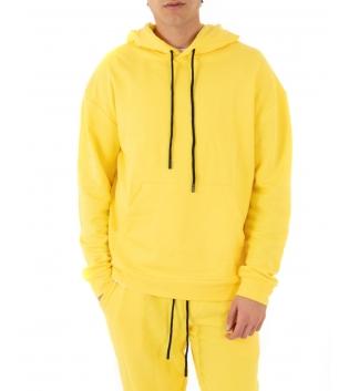 Completo Uomo Tuta Cotone Outfit Casual Tinta Unita Giallo Cappuccio GIOSAL
