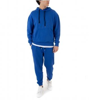 Completo Uomo Tuta Cotone Outfit Casual Tinta Unita Blu Royal Cappuccio GIOSAL