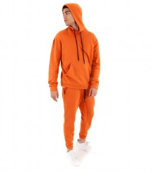 Completo Uomo Tuta Cotone Outfit Casual Tinta Unita Arancio Cappuccio GIOSAL