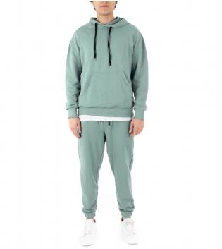 Completo Uomo Tuta Cotone Outfit Casual Tinta Unita Verde Acqua Cappuccio GIOSAL