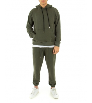 Completo Uomo Tuta Cotone Outfit Casual Tinta Unita Verde Cappuccio GIOSAL