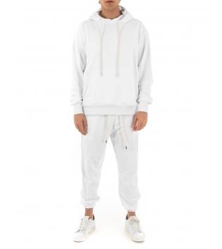 Completo Uomo Tuta Cotone Outfit Casual Tinta Unita Bianco Cappuccio GIOSAL