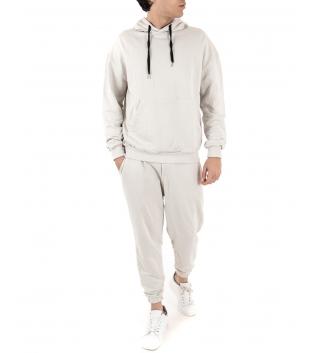 Completo Uomo Tuta Cotone Outfit Casual Tinta Unita Bianco Sporco Cappuccio GIOSAL