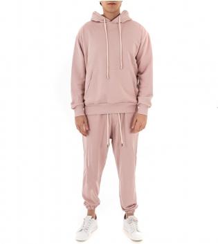 Completo Uomo Tuta Cotone Outfit Casual Tinta Unita Vari Colori Cappuccio GIOSAL