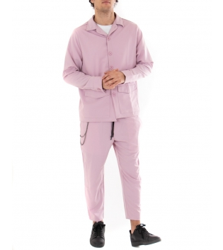 Outfit Uomo Completo Camicia Pantalone Tinta Unita Japan Casual Rosa GIOSAL