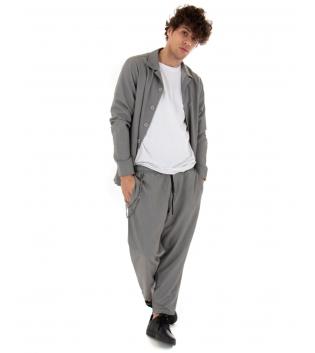 Outfit Uomo Completo Camicia Pantalone Tinta Unita Japan Casual Grigio GIOSAL