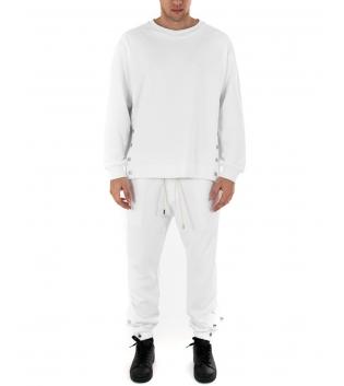 Outfit Uomo Completo Tuta Bottoni Tinta Unita Bianco Felpa Pantalone GIOSAL