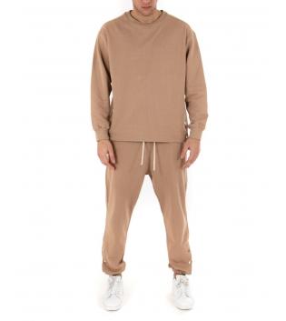Outfit Uomo Completo Tuta Bottoni Tinta Unita Camel Felpa Pantalone GIOSAL-Camel-S