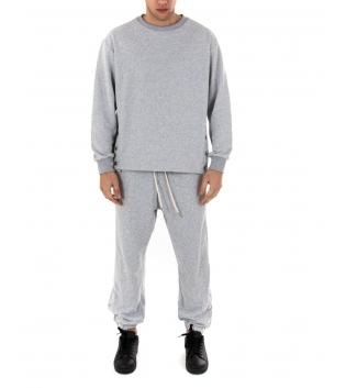 Outfit Uomo Completo Tuta Bottoni Tinta Unita Grigio Felpa Pantalone GIOSAL