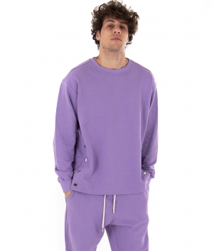 Outfit Uomo Completo Tuta Bottoni Tinta Unita Viola Felpa Pantalone GIOSAL