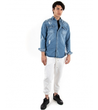 Outift Uomo Casual Giacca Jeans Pantalone Coulisse Bianca Denim GIOSAL