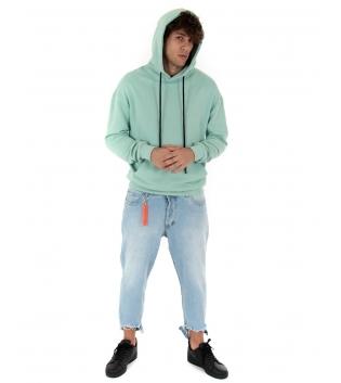 Outfit Uomo Completo Felpa Verde Acqua Jeans Denim Chiaro GIOSAL