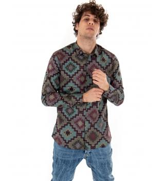 Outfit Uomo Jeans Camicia Multicolore Casual Slim GIOSAL