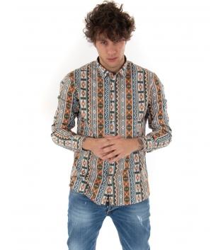 Outift Uomo Camicia Jeans Multicolore Sartoriale Casual Limited Edition GIOSAL