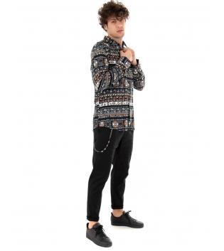 Outfit Uomo Camicia Multicolore Casual Pantalone Tinta Unita Nero GIOSAL