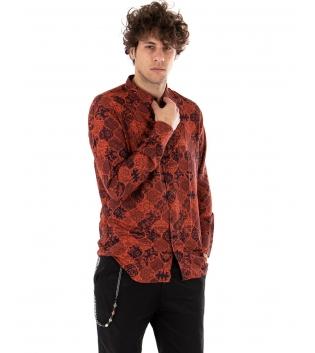 Outfit Uomo Camicia Over Limited Edition Casual Ruggine Pantalone Nero GIOSAL