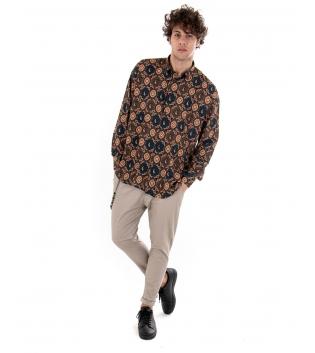 Outfit Uomo Camicia Casual Pantalone Beige Tinta Unita GIOSAL