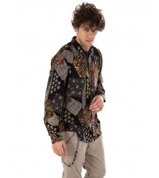 Outfit Uomo Camicia Maniche Lunghe Pantalone Tinta Unita Beige GIOSAL