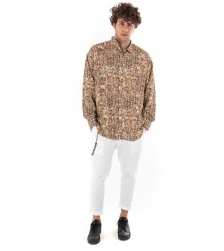 Outfit Uomo Completo Camicia Safari Pantalone Bianco Casual Camel GIOSAL-Camel-S