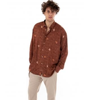 Outfit Uomo Camicia Ruggine Casual Pantalone Tinta Unita Beige GIOSAL
