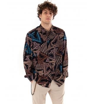 Outfit Uomo Camicia Multicolore Pantalone Beige Classico Casual GIOSAL