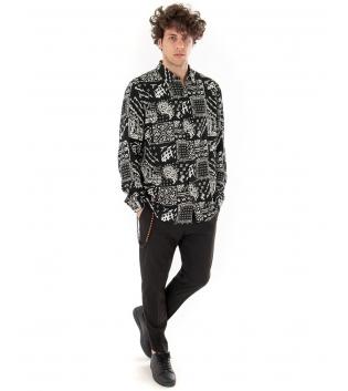 Outfit Uomo Completo Camicia Bianco Nero Pantalone Casual Classico GIOSAL