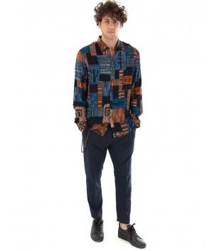Outfit Uomo Camicia Pantalone Classico Blu Casual Tinta Unita GIOSAL