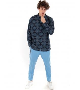 Outfit Uomo Azzurro Camicia Pantalone Tinta Unita Casual GIOSAL-Azzurro-S